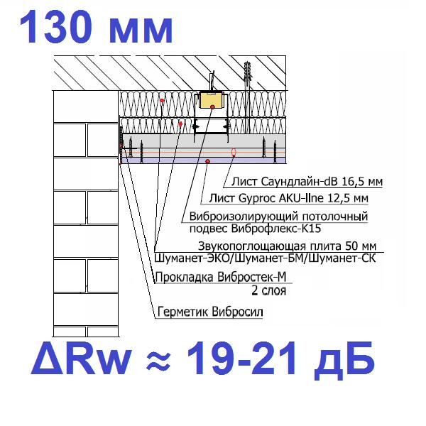 Каркасный звукоизоляционный потолок на подвесах Виброфлекс-К15 (130 мм)0