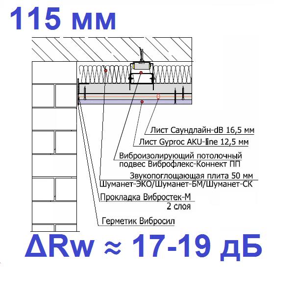 Каркасный звукоизоляционный потолок на подвесах Виброфлекс-Коннект ПП (115 мм)0